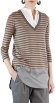 Akris Punto Women's Poplin Inset Stripe Sweater