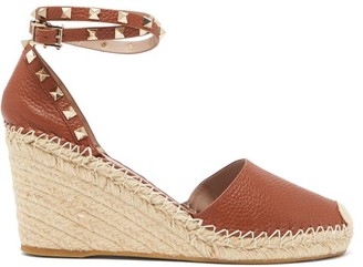 Valentino Rockstud Leather Espadrille Wedges - Tan