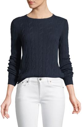 Ralph Lauren Collection Long-Sleeve Crewneck Cable-Knit Cashmere Sweater