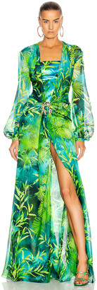 Versace Palm Long Sleeve Dress in Green | FWRD