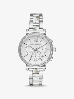 Michael Kors Sofie Pave Silver-Tone and Acetate Watch