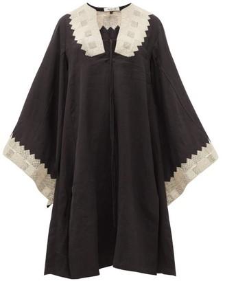 Fil De Vie Ourika Cross-stitched Linen Kaftan - Black