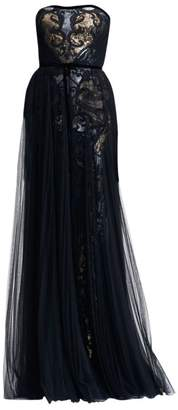 Marchesa Strapless Tulle & Sequin Gown