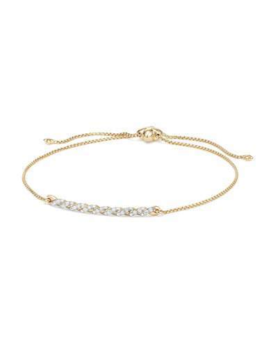 David Yurman Petite Paveflex 18K Yellow Gold Station Bracelet with Diamonds