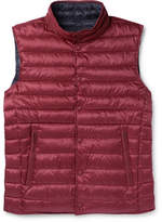 Hackett Reversible Quilted Shell Down Gilet - Burgundy