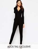 ASOS Tall ASOS TALL Wrap Front Jumpsuit With Peg Leg