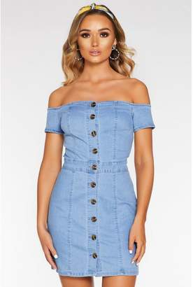 Quiz Denim Bardot Button Front Bodycon Dress