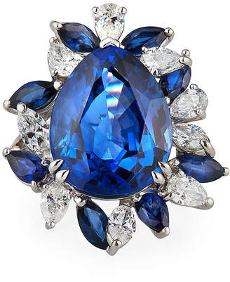Alexander Laut Platinum Blue Sapphire Pear Ring w/ Diamonds