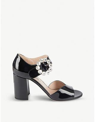 Miu Miu Crystal-embellished patent leather sandals