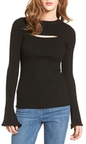 Cotton Emporium Women's Cutout Ribbed Sweater