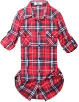 OCHENTA Women's Mid Long Style Roll Up Sleeve Plaid Flannel Shirt Label 7XL - US 2XL