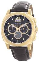 Bulova Precisionist 97B143 Black Dial Leather Strap Chronograph Mens Watch