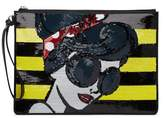 Alice + Olivia Stace Face Embellished Large Leather Wristlet