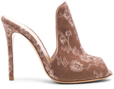 Gianvito Rossi Embroidered Velvet Mules in Pink,Floral.