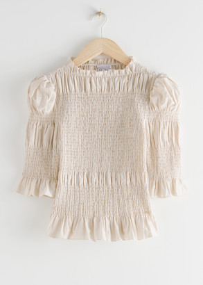 And other stories Fitted Smocked Ruffle Top