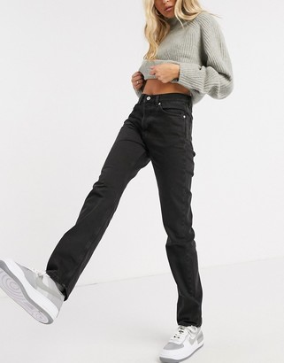 Weekday Wire organic cotton relaxed straight leg jeans in almost black