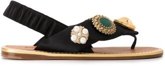 Miu Miu Embellished Flat Sandals
