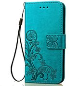 Fashion Floral Clover Embossed PU Leather Magnetic Flip Cover Card Holders & Hand Strap Wallet Purse Cover Case For Mobile Cell Phone (Samsung Galaxy Express 3 AT&T)