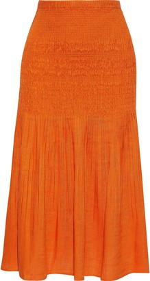 Nicholas Shirred Pleated Gauze Midi Skirt
