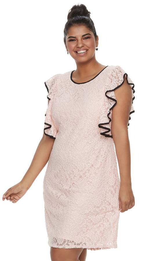 Wrapper Juniors' Plus Size Ruffled Lace Dress