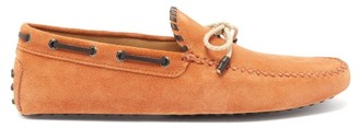 Tod's Gommino Leather-trimmed Suede Driving Shoes - Mens - Orange