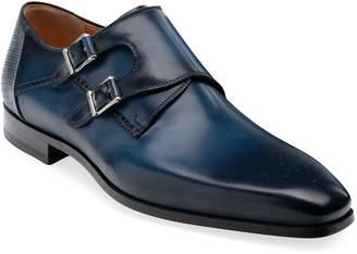 Magnanni Men's Derek Double-Monk Brogue Leather Loafers