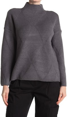 Cyrus Diamond Argyle Mock Neck Sweater