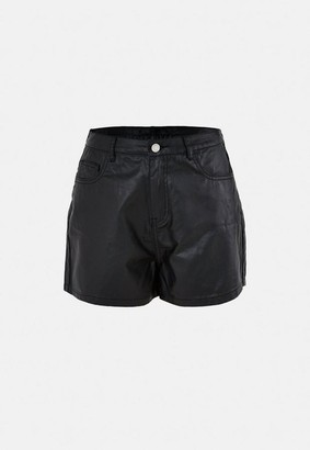 Missguided Black Faux Leather Coated Denim Shorts