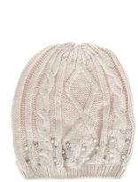 Quiz Cream Pearl And Diamante Beanie Hat
