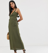 Asos DESIGN Tall knot front linen maxi dress with tie back