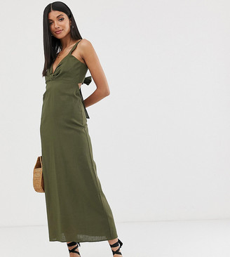 Asos Tall DESIGN Tall knot front linen maxi dress with tie back-Green