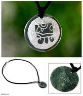 Hand Crafted Nahual Pendant Jade Necklace, 'Tz'ikin Maya Love'