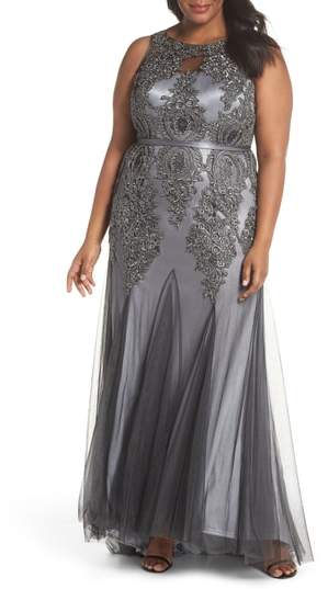 Decode 1.8 Beaded Godet Mesh Trumpet Gown