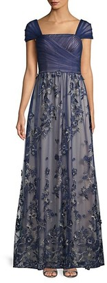 Carmen Marc Valvo Floral Embroidered Cap Sleeve Gown