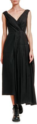 Marni Asymmetric Pleated Poplin Dress