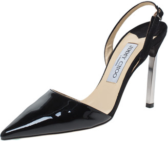 Jimmy Choo Black Patent Leather Devleen Pointed Toe Slingback Sandals Size 36