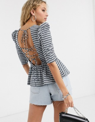 Topshop gingham puff sleeve blouse in navy