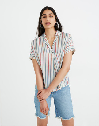 Madewell Park Popover Shirt in Rainbow Stripe