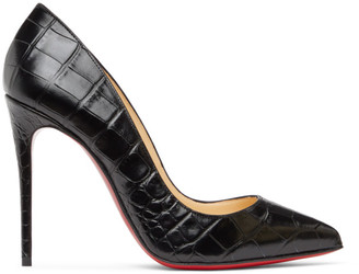 Christian Louboutin Black Croc Pigalle Follies 100 Heels