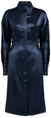 Proenza Schouler Satin Cut-Out Shirt Dress