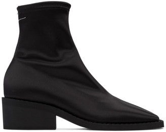 MM6 MAISON MARGIELA Black Satin Ankle Boots