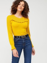 Warehouse Pointelle Ruffle Yoke Jumper - Yellow