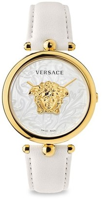Versace Palazzo Empire IP White & Goldtone Leather Strap Watch