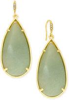 ABS by Allen Schwartz Gold-Tone Large Green Stone Teardrop Earrings