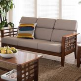 Baxton Studio Leda Modern Mission Beige High Back Sofa