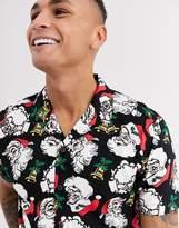 Urban Threads printed christmas revere collar shirt-Multi