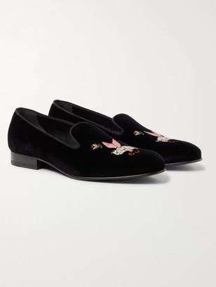 Gucci Grosgrain-Trimmed Embroidered Velvet Loafers