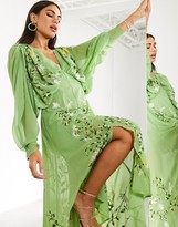 Asos Edition EDITION embroidered ruched batwing midi dress in green