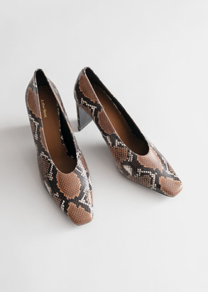 And other stories Squared Toe Snake Embossed Pumps