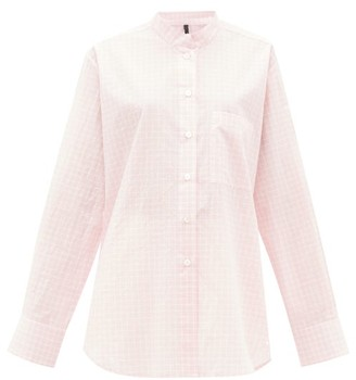 Sara Lanzi Graph-checked Tumbled Cotton-poplin Shirt - Light Pink